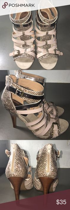 Nine West sandals.  Size 8.5 m Brown and tan snakeskin Nine West Sandals in great condition. Wear and tear shows at the sole of shoes. Size 8.5m Nine West Shoes Sandals