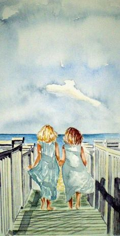 Sisters Painting by Paul Sandilands - Sisters Fine Art Prints and Posters for Sale Art Plage, Art Amour, Fine Art Prints, Canvas Prints, Canvas Art, Art Et Illustration, Inspiration Art, Beach Art, Beach Mural