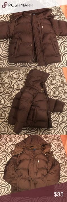 Boys Ralph Lauren Brown Puffer Coat Sz 4T Ralph Lauren Polo Boy's Brown Puffer Hooded Winter Coat Jacket Sz 4T Detachable hood. Puffer jacket. Little pony embroidery on chest. Please see photos.  If you have any questions, please let me know.  Great condition, no stains, holes, or tears. Coat will ship freshly washed. Polo by Ralph Lauren Jackets & Coats Puffers