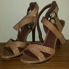 Marc Fisher strappy heels Two strap brown heeled sandals by Marc Fisher. 4.75 inches high with .75 inch platform. Comfy and only worn once. :) Marc Fisher Shoes Heels