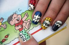 I came across some fun comic book looking nails and knew there had to be more designs out there for me to share with you all! These nails are super fun Sexy Nails, Fancy Nails, Love Nails, Pretty Nails, Comic Book Nails, Comic Books, New Nail Trends, Finger Nail Art, Nerd Fashion