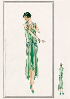 Nile green gown 1920s | 1920s Fashion Anytime Greeting Cards