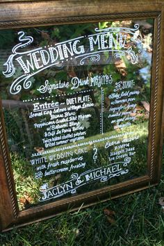 Wedding menu on glass. new bronze colored frame