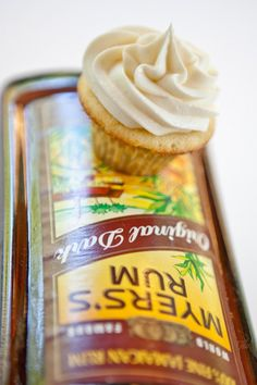 Island Rum Cupcakes with Dark Rum Frosting!