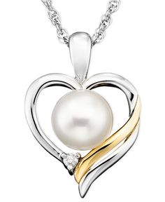 14k Gold & Sterling Silver Pendant, Pearl & Diamond Accent - Necklaces - Jewelry & Watches - Macy's