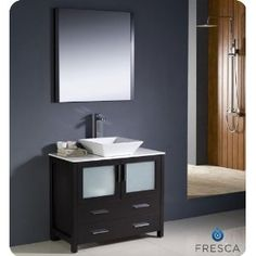 "Fresca Torino 36"" Modern Bathroom Vanity w/ Vessel Sink - Espresso; $1000; my bathroom"