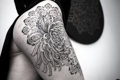Chrysanthemum tattoo ornament dotwork blackwork Chrysanthemum Tattoo, Blackwork, Ornament, Skull, Photo And Video, Tattoos, Instagram, Decor, Tatuajes