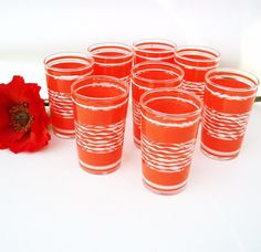 Vintage Orange Juice Glasses Tangerine and White by WhimzyThyme
