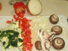 2356 Chopped #vegies - #redbellpepper #zuccinni #onion #crimini #mushrooms