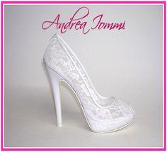 71b61aaf34b8 scarpe da sposa in pizzo. collezione scarpe da sposa 2015 Andrea Iommi.  tacco 12.