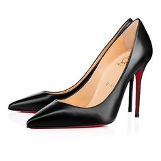 """""""Decollete 554"""" is a refined go-to for the busy lady. Whether you're dashing off to a daytime meeting or evening date, this 100mm pump in lustrous black leather gives you a polished presence."""