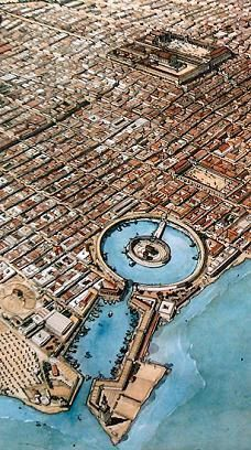 The port of ancient Carthage.   The Roman control began with the victory in the 3rd Punic War in 146 BCE.  This truly would have been worth living to see....One of the strongest city-states in the world at that time.