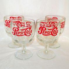 Vtg Retro Pepsi Cola Glass Goblet Set of 4 #PepsiCola #vtg #GlassGoblet #set #1970s #70s #retro #red #MothballHavenVintageThreads