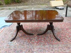 Duncan Phyfe Double Pedestal Triple Leg Dining Table