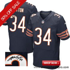 $129.99 Men's Nike Chicago Bears #34 Walter Payton Elite Team Color Blue NFL Alternate Autographed Jersey