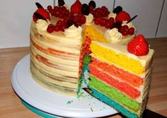 Szivárvány torta Vanilla Cake, Cookie Recipes, Cookies, Food, Household, Rainbow, Recipes For Biscuits, Crack Crackers, Rain Bow
