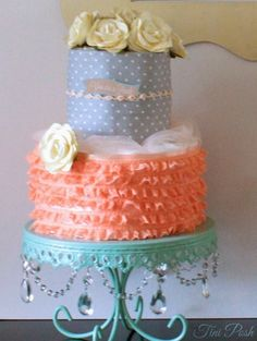 Lovely diaper cake at a Georgia Peach baby shower!  See more party ideas at CatchMyParty.com! Love the stand