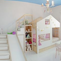 Extraordinary Ideas For Bunk Bed With Slide That Everyone Will Adore 17 German Decor, Bunk Bed With Slide, House Beds, Little Girl Rooms, Kid Spaces, Kid Beds, Kids Decor, Boy Decor, Kids Furniture