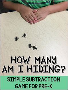 """""""How Many Am I Hiding?"""" is a simple subtraction math game for Pre-K, Preschool, Kindergarten children to practice number concepts."""