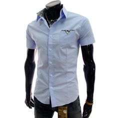 (CE107-SKY) Slim Fit Pattern Patched Short Sleeve Stretchy Shirts