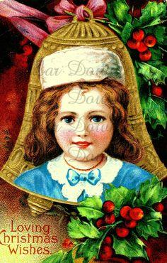 Mooi Meisje in de Klok van Kerstmis Antieke Postcard Digital Image Download No. 1968................lb xxx