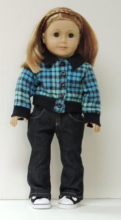 Blue and black plaid jacket by OneGirlsDream on Etsy. Made with the Sofie's Hunter Jacket pattern. Find it here http://www.pixiefaire.com/collections/sofie-clareese/products/sofies-hunter-jacket-18-doll-clothes. #pixiefaire #sofieshunterjacket