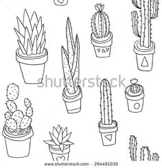 Vector seamless pattern with hand drawn outline cactus in pot. Black and white design concept. Indoor plants.