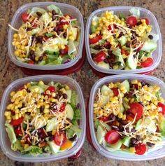 Healthy Lunch Ideas Discover Thyme and JOY Meal prep for the week. Mexican Santa Fe Salads: lettuce cucumbers cherry tomatoes cilantro black beans corn and mexican mix cheese. Lunch Meal Prep, Healthy Meal Prep, Healthy Snacks, Healthy Eating, Healthy Recipes, Keto Recipes, Meal Prep Salads, Healthy Packed Lunches, Lunch Time