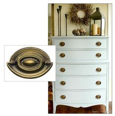 Update a frumpy dresser with fresh paint colors and classic hardware.  Federal style pulls from House of Antique Hardware: http://www.houseofantiquehardware.com/replacement-drawer-pulls-large-hepplewhite-double-post-abh   Dresser re-pinned from http://pinterest.com/pin/56787645273056145/.