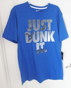bae51dd7b NWT Nike Men's Just Dunk It Basketball Graphic S/S T Shirt Blue 637438-476