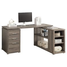 """Dark Taupe Reclaimed-Look Left / Right Facing Corner Desk - Monarch Specialties hollow-core """"L"""" shaped computer desk will be a stunning focal point in your contemporary home office. This simple and stylish piece features thick panels and clean Gaming Desk, Computer Desks, Computer Shelf, Home Office Desks, Home Office Furniture, Modern Furniture, Furniture Decor, Rustic Furniture, Furniture Design"""