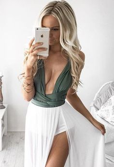 olive greem with white gorgeous girly dress