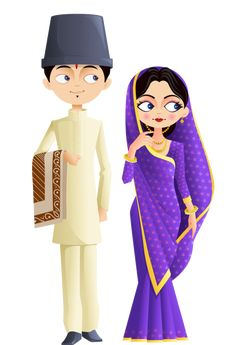 personnages, illustration, individu, personne, gens Wedding Drawing, Wedding Art, Wedding Card Design, Wedding Couples, Wedding Decor, Indian Illustration, Wedding Illustration, Cute Illustration, Wedding Couple Cartoon
