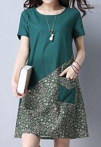 Vestido evasê com recorte diagonal – DIY – molde, corte e costura – Marlene Mukai