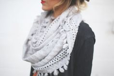 neutral trimmed scarf