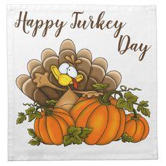 Happy Turkey Day Cloth Napkin | Zazzle.com