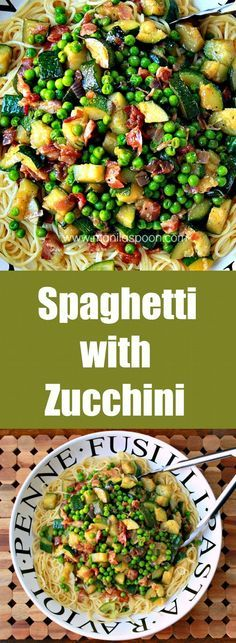 A delicious and easy way to use up Zucchini. We've thrown in some Bacon for good measure! Spaghetti with Zucchini | manilaspoon.com