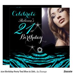 21st Birthday Party Teal Blue 21 Zebra Photo 4 Invitation