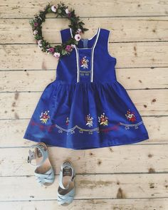 New in store!  Cobalt blue folklore dress with embroidery. 💙 Size 4-5 years.  Link in profile. We ship worldwide. ✈️