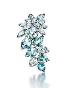 A French Retro Aquamarine & Diamond Brooch by Suzanne Belperron