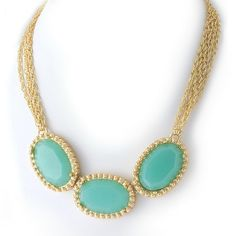 aqua & gold statement necklace. I need this for summer!!!
