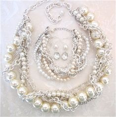 Bridal Set Chunky Pearl Rhinestone Silver Necklace, Bracelet, Earrings Bridal Statement Wedding Jewelry Twisted Statement - Pearly Q on Etsy, $225.00