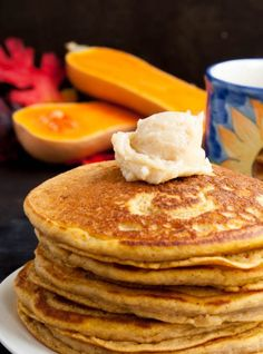 Whole Wheat Butternut Squash Pancakes with Maple Butter-6