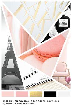 Pink, gold, and black color inspiration board / French inspired color palette Layout Design, Blog Design, Design Ideas, Mood Board Inspiration, Graphic Design Inspiration, Design Websites, Tableaux D'inspiration, Parfum Chanel, Mood Colors