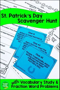 Need an engaging and academic activity with a St. Patrick's Day theme for your third, fourth, and fifth graders? Kids will have fun hunting down the clues in this St. Patrick's Day Scavenger Hunt! You can further enhance learning with the additional Vocabulary Study and Fraction Word Problems. The Scavenger Hunt works great for readers in grade 3-5. The math addresses 5th grade fraction addition and subtraction. Click here!