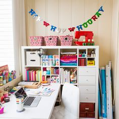 Is your work space feeling a little disorganized? Declutter it with these tips and tricks! (Hint: Hidden cabinets, cubbies and bins are game changers.) #partner