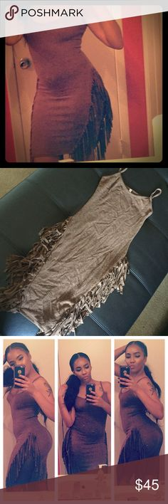 Fringe Tan Dress Super clingy and super stretch tan dress! Looks sort of like felt. 76% Rayon. Fringe from the waist to the bottom. Spaghetti strap and super sexy fitting every single curve on your body!!! Very sexy with a pair of knee high boots! (Not brand listed) Anthropologie Dresses Midi