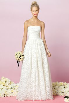 Brides: Affordable Wedding Dresses (Under $1,000!). Strapless lace dress with shirred bodice and full shirred skirt, style 1037, $660, After Six