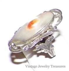 Vintage Victorian Sterling Silver Blister Pearl Ring Size 7 Pretty Setting 99 cents