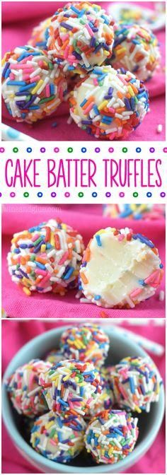 Cake Batter Truffles are made in the microwave! And so so so yummy! Good luck only eating one!These Cake Batter Truffles are made in the microwave! And so so so yummy! Good luck only eating one! Mini Desserts, Just Desserts, Delicious Desserts, Yummy Food, Birthday Desserts, Oreo Desserts, Plated Desserts, Christmas Desserts, Christmas Cookies